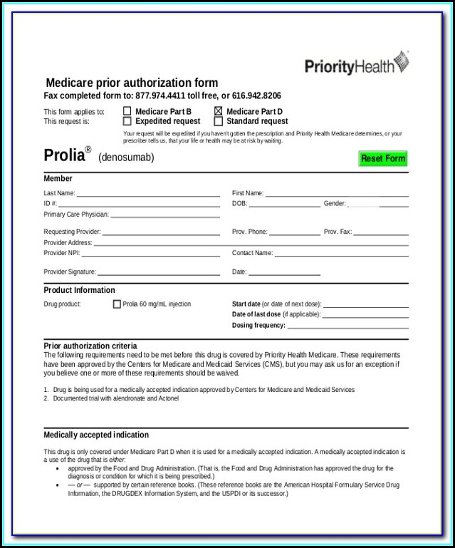 Medicare Pharmacy Prior Authorization Form