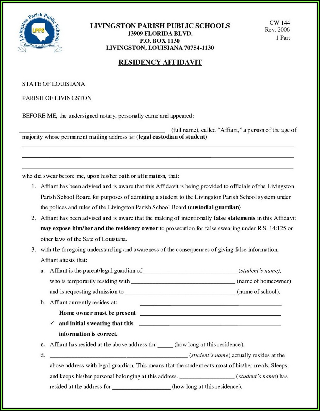 Missouri Temporary Guardianship Form