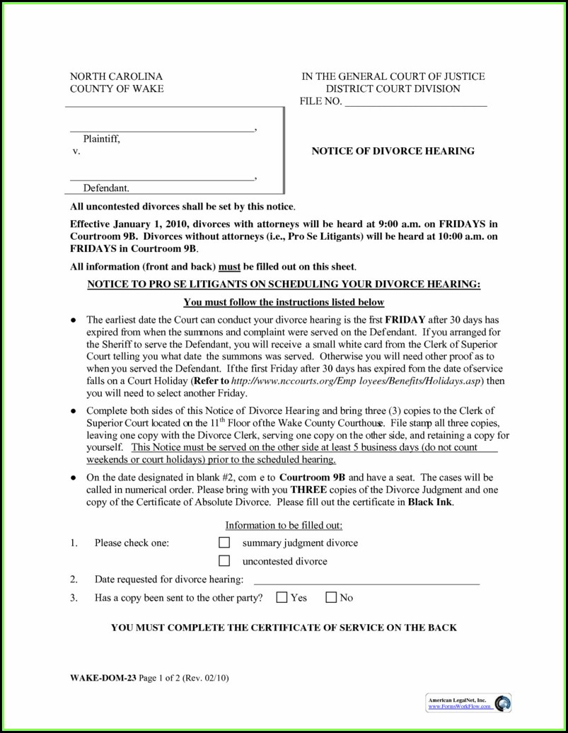 North Carolina Divorce Forms Pdf