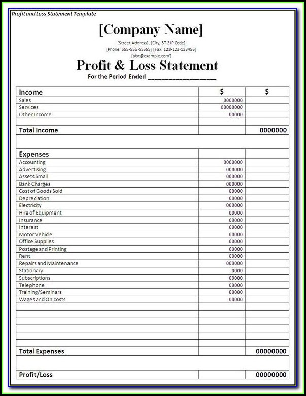 Profit & Loss Statement Format In Excel