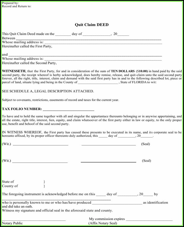Quitclaim Deed Form Florida