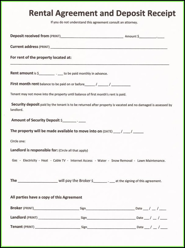 Rental Agreement Forms Free Printable