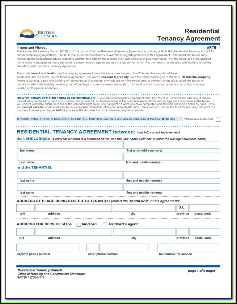 Rental Tenancy Forms Bc