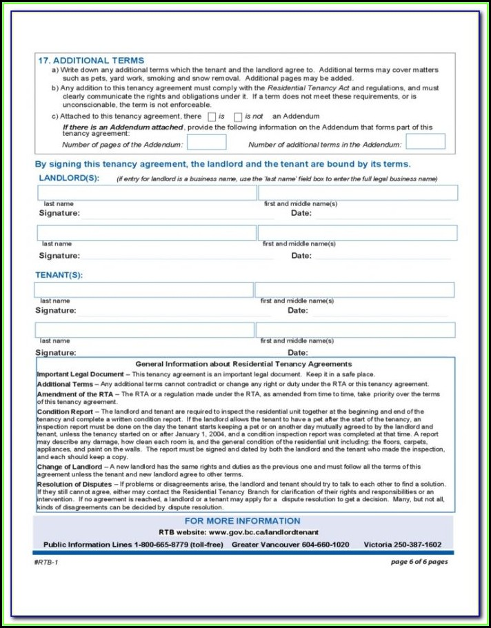 Rental Tenancy Forms Wa