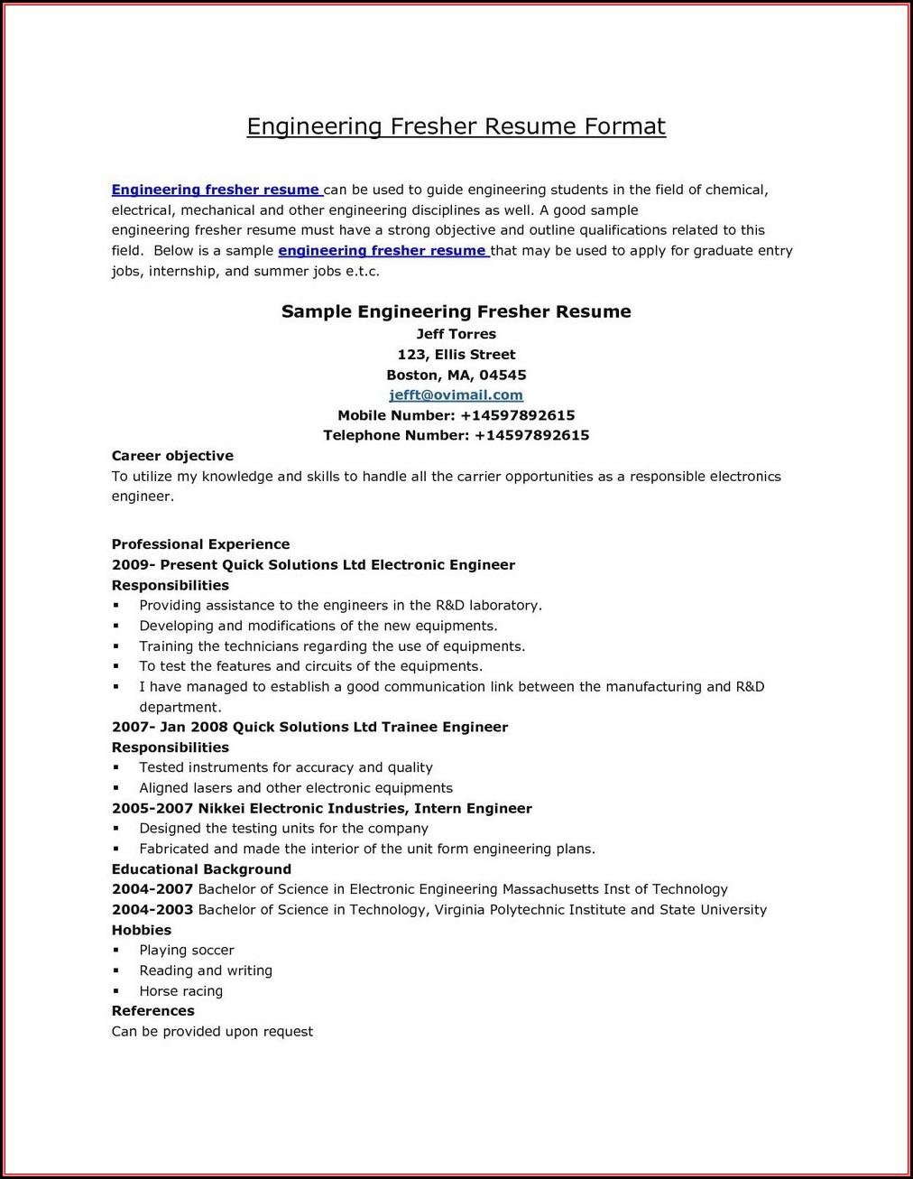 Resume Of Fresher Mechanical Engineers