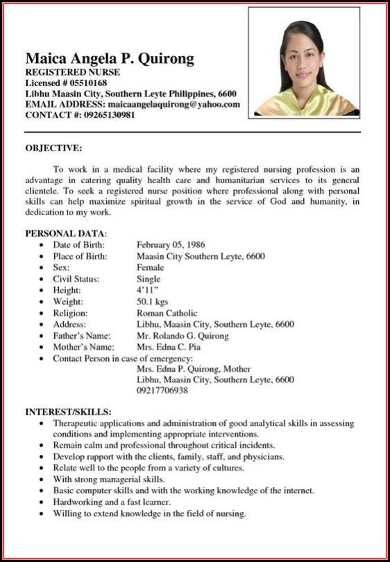 Resume Sample For Nurses Philippines