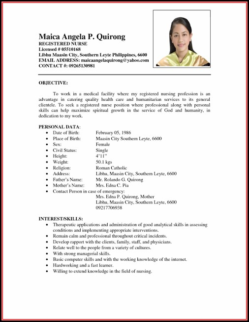 Resume Sample Nurses