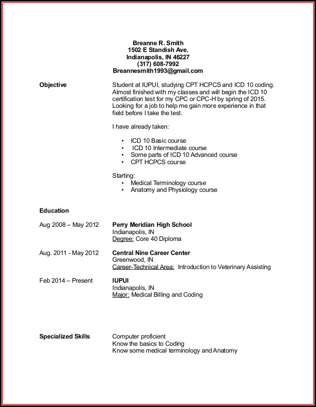 Resume Template For Medical Billing And Coding