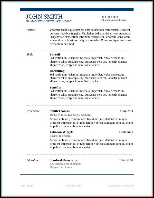 Resume Template For Microsoft Word 2016
