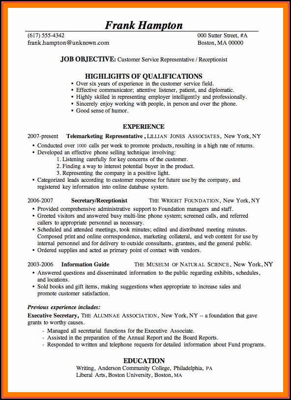 Resume Templates For Customer Service Position