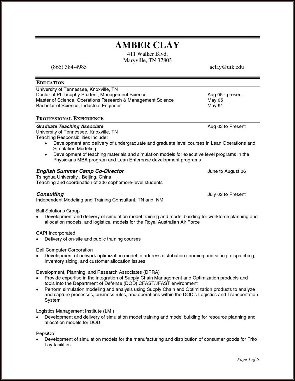 Resume Templates For Project Management Construction