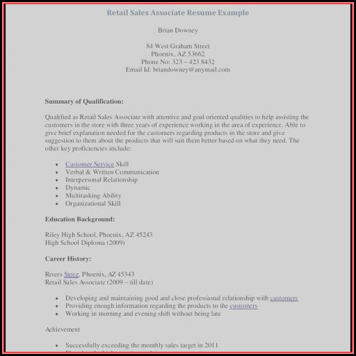 Resume Templates For Retail Sales Position