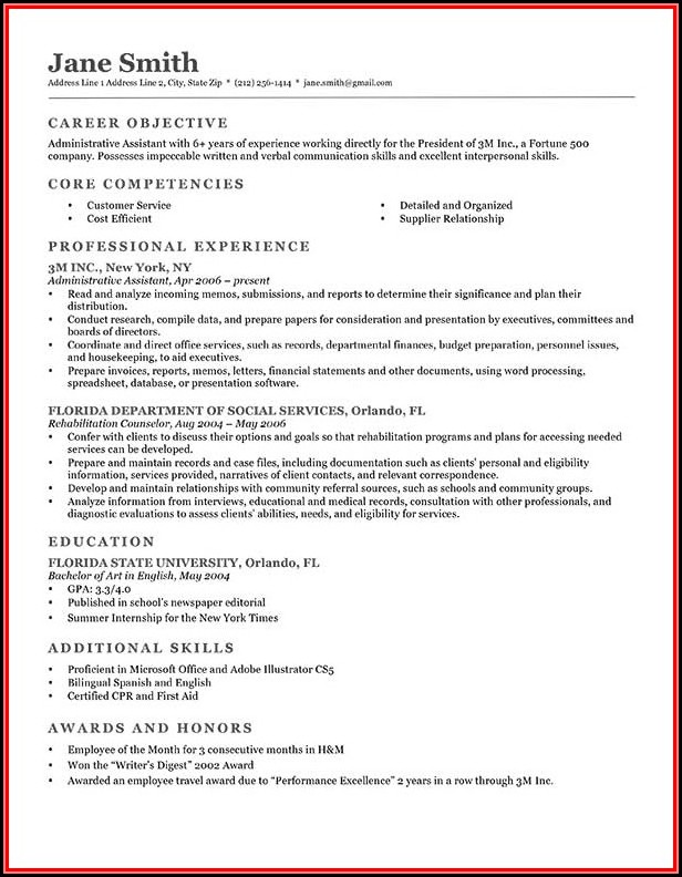 Resume Writing Templates Examples