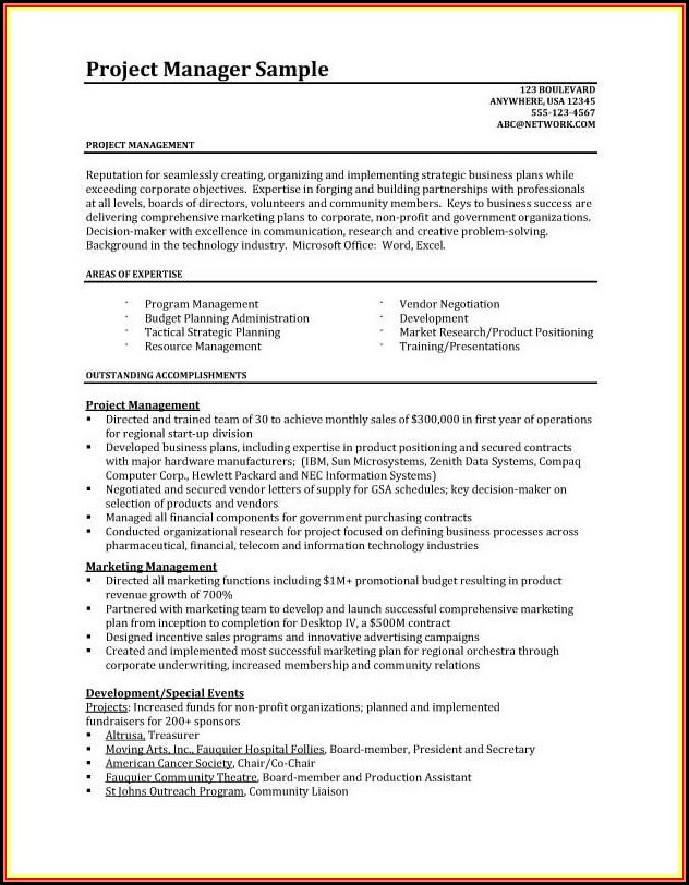 Resumes For Project Managers Template