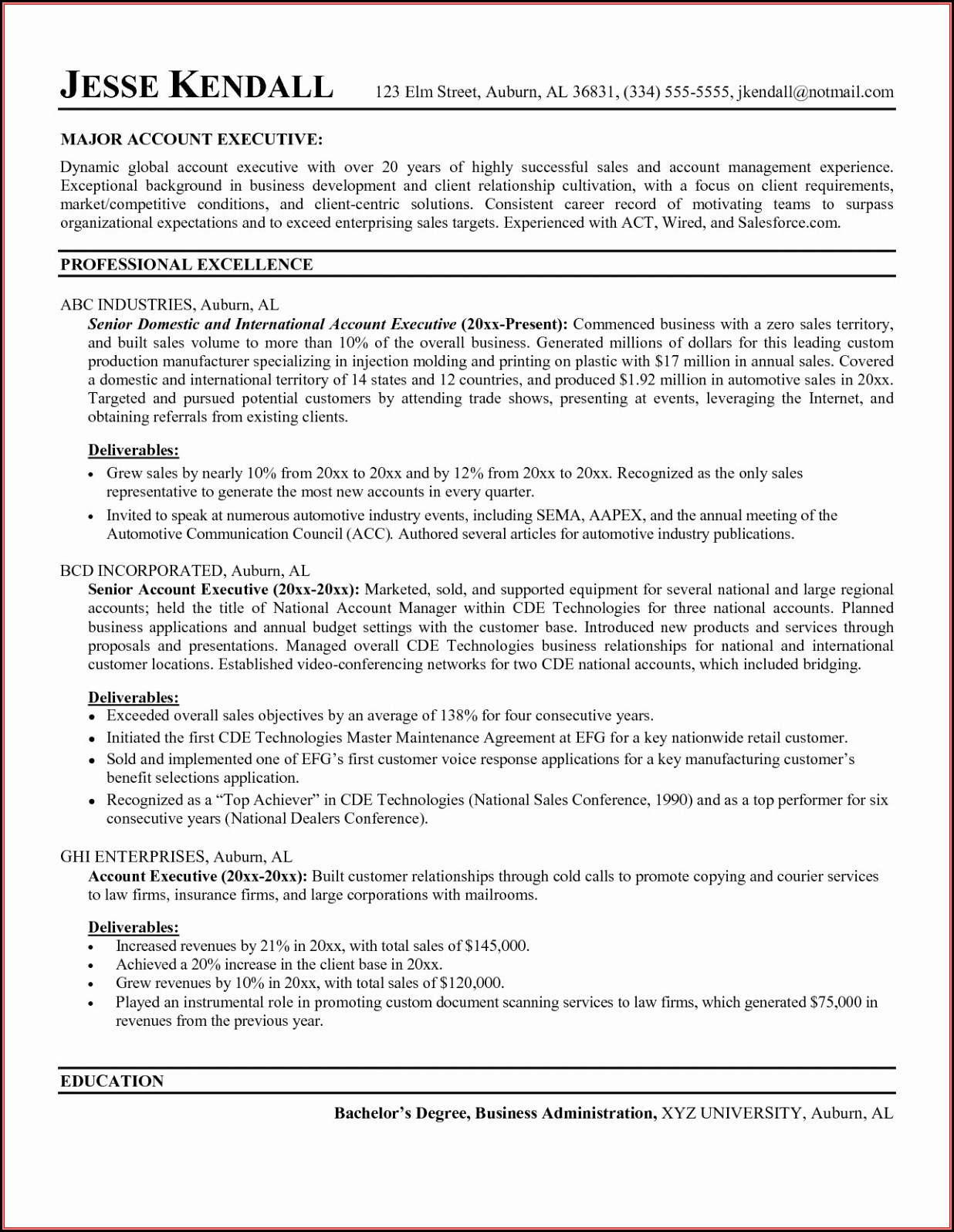 Resumes For Sales Executives
