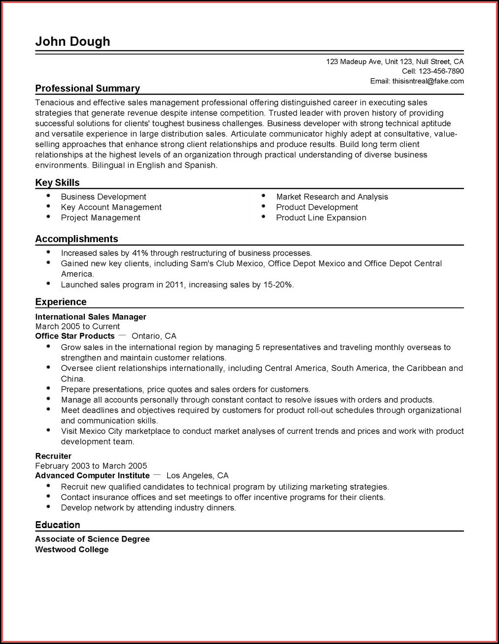 Resumes For Sales Managers
