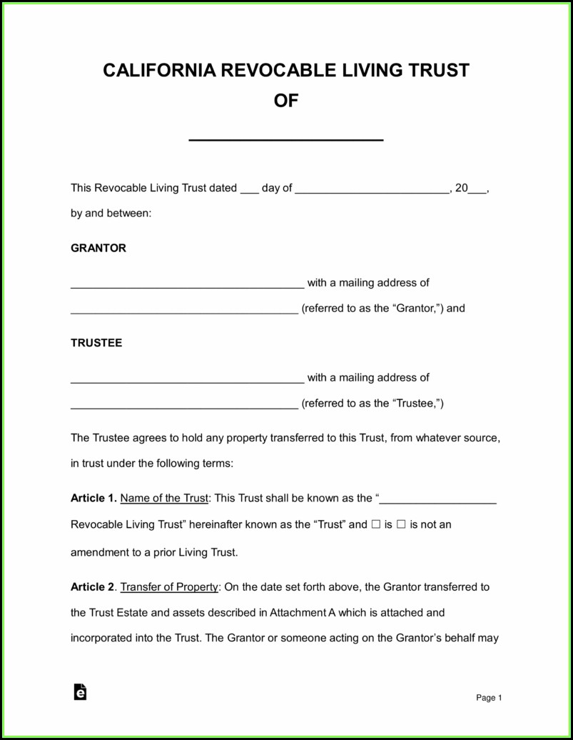 Revocable Living Trust Form Pdf