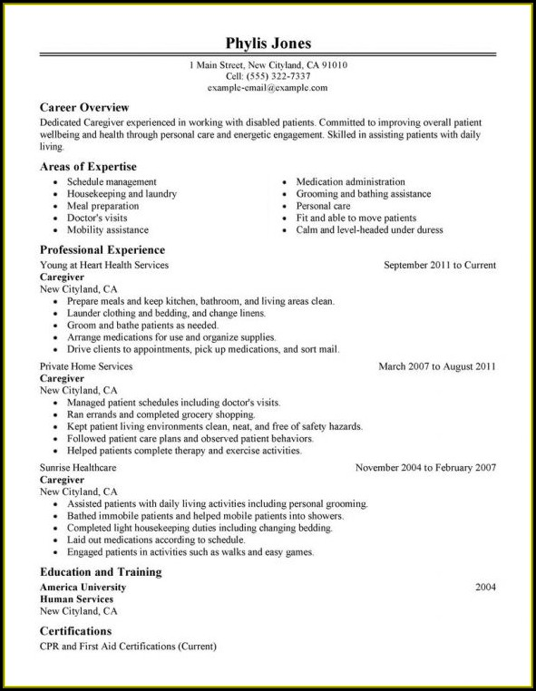 Sample Caregiver Resume Template