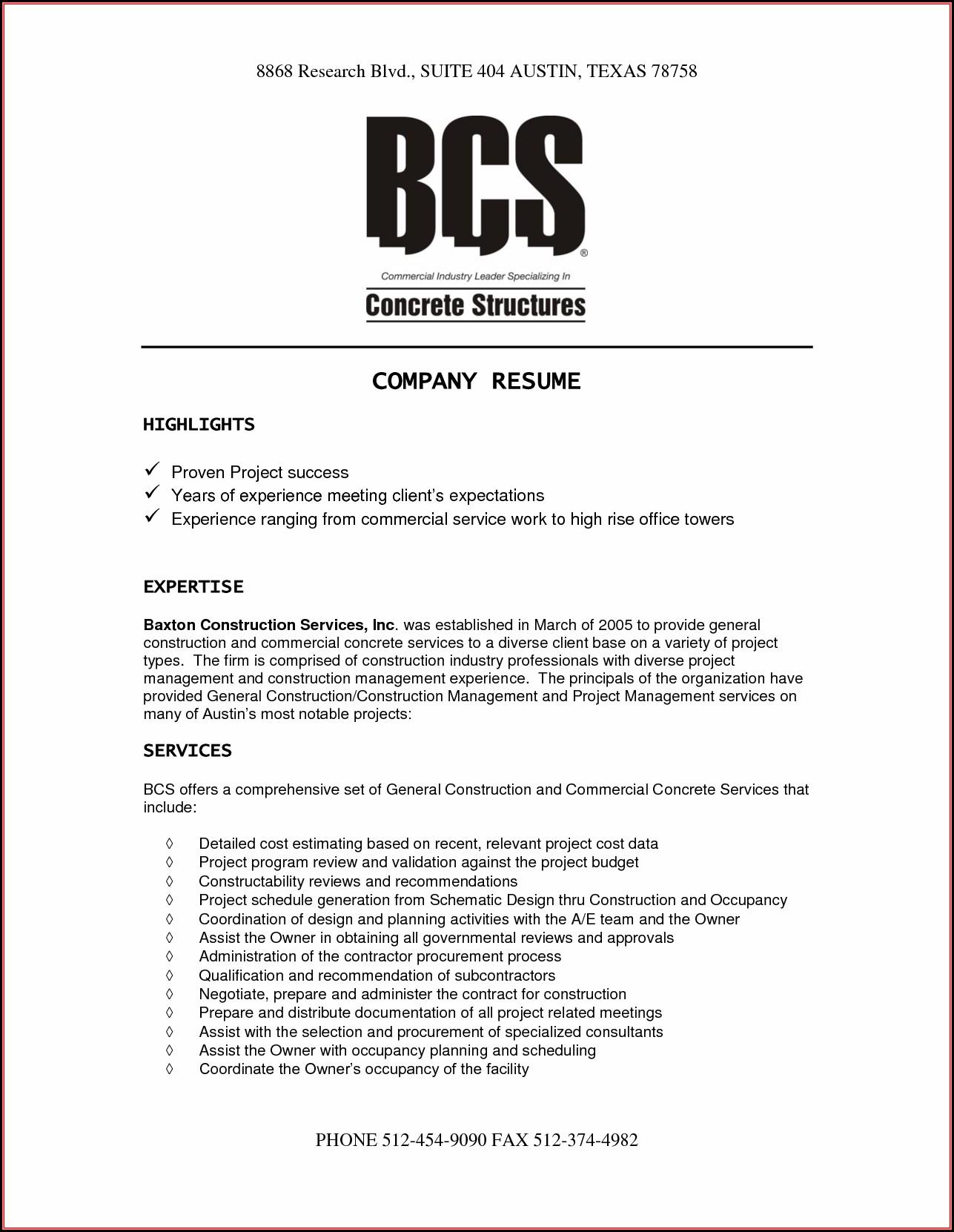 Sample Company Resume Templates