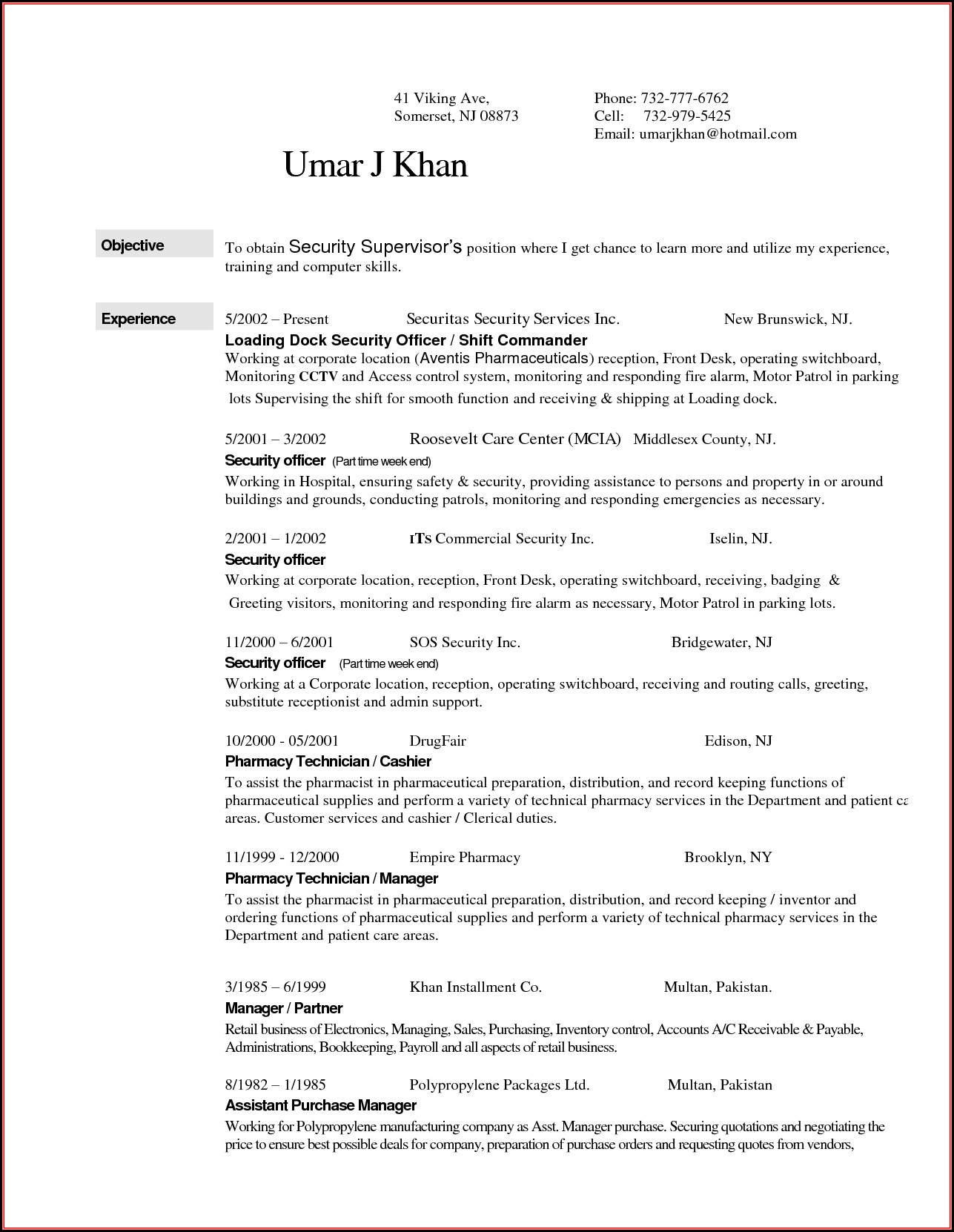 Sample Entry Level Security Guard Resume