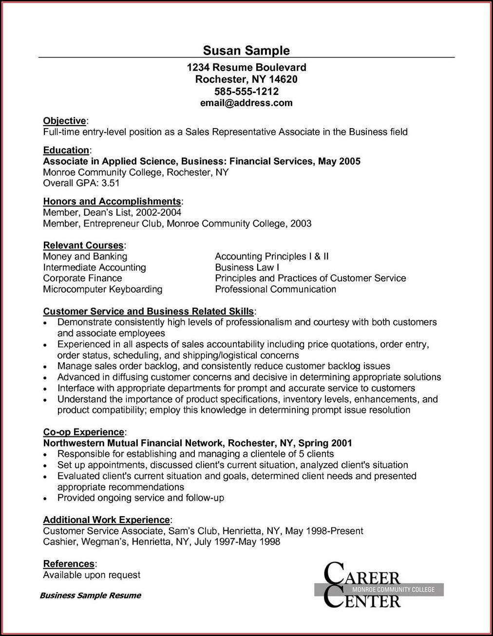 Sample Of Resume For Customer Service