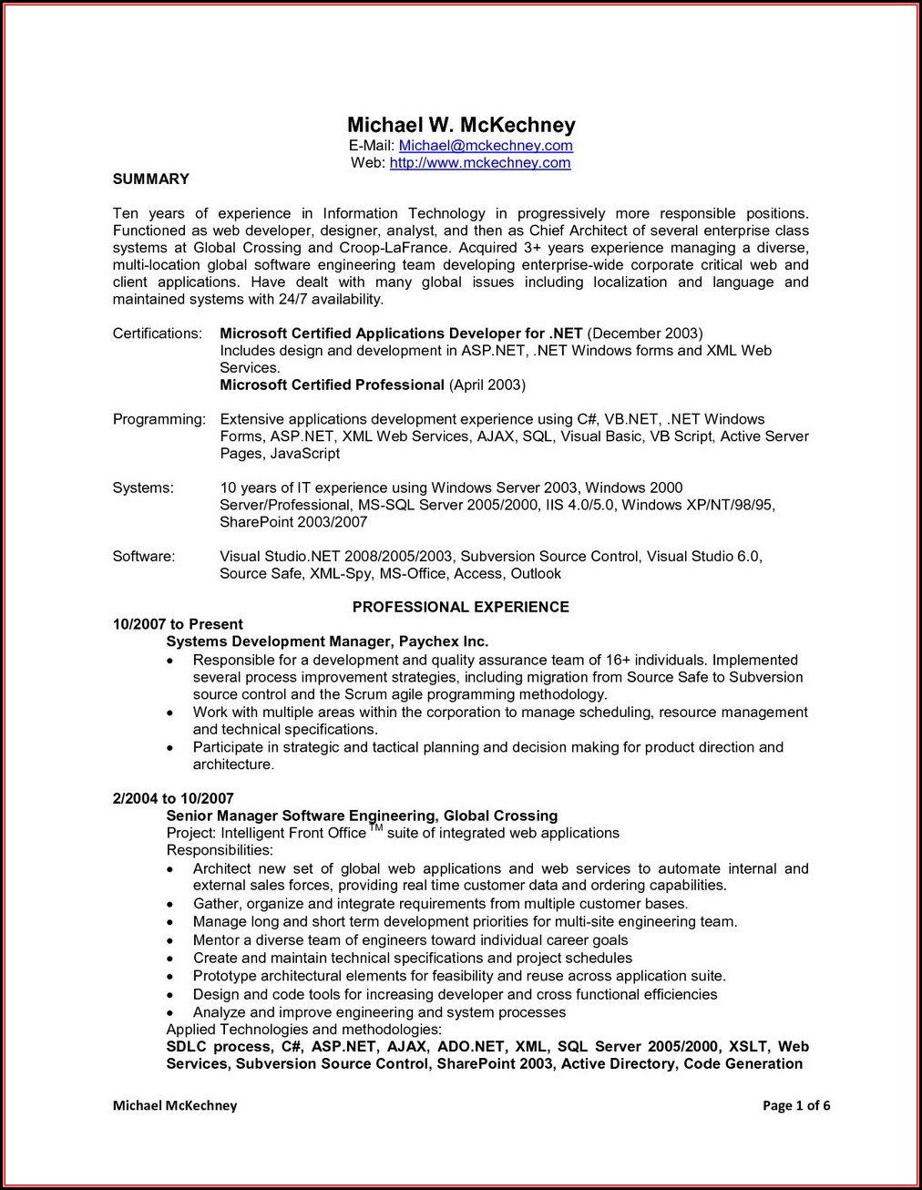 Sample Resume For .net Developer With 1 Year Experience