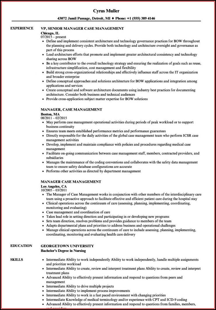 Sample Resume For Rn Case Manager