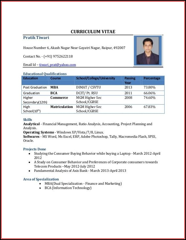 Sample Resume Format For Mba Freshers Download
