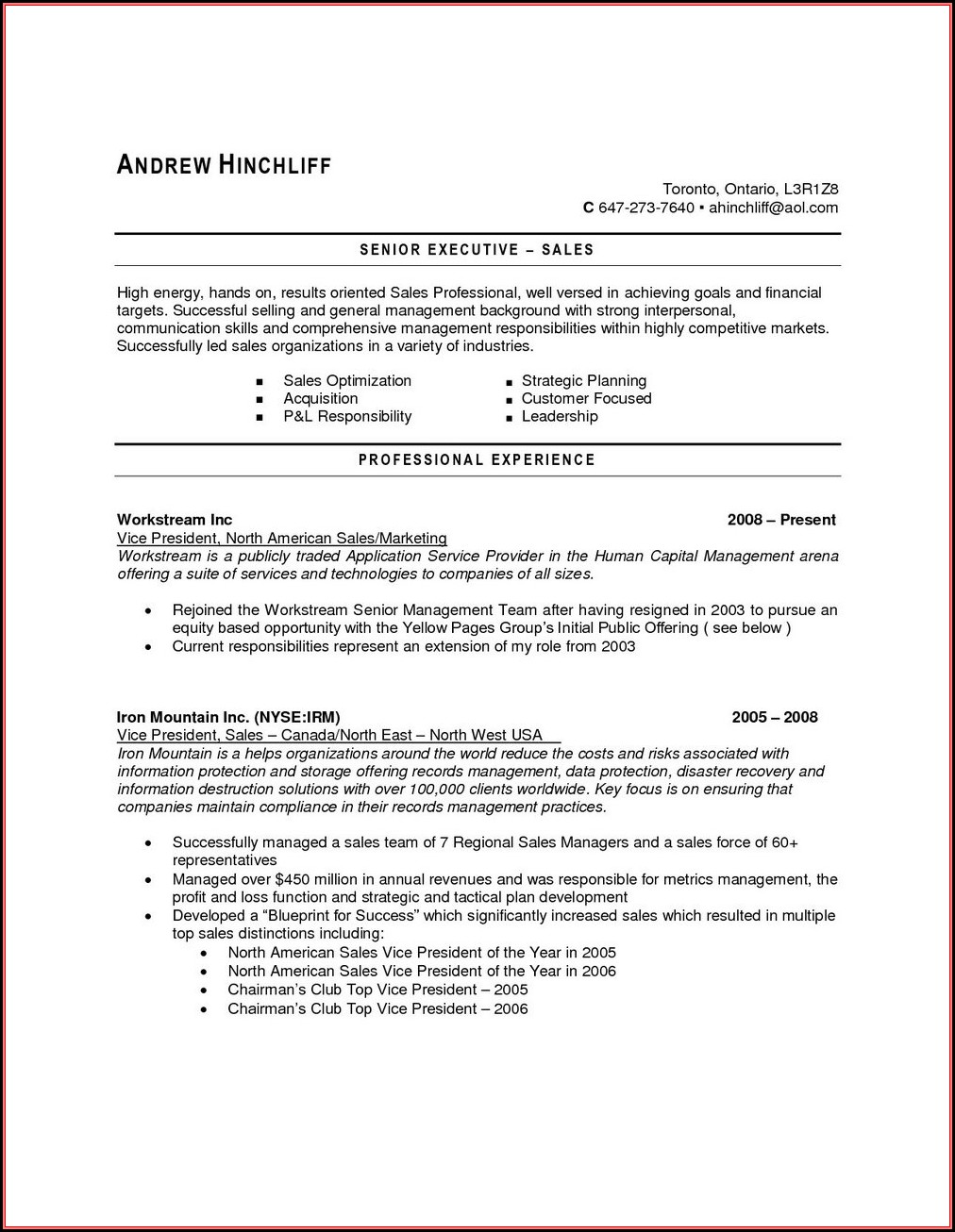 Sample Resumes For Jobs In Canada