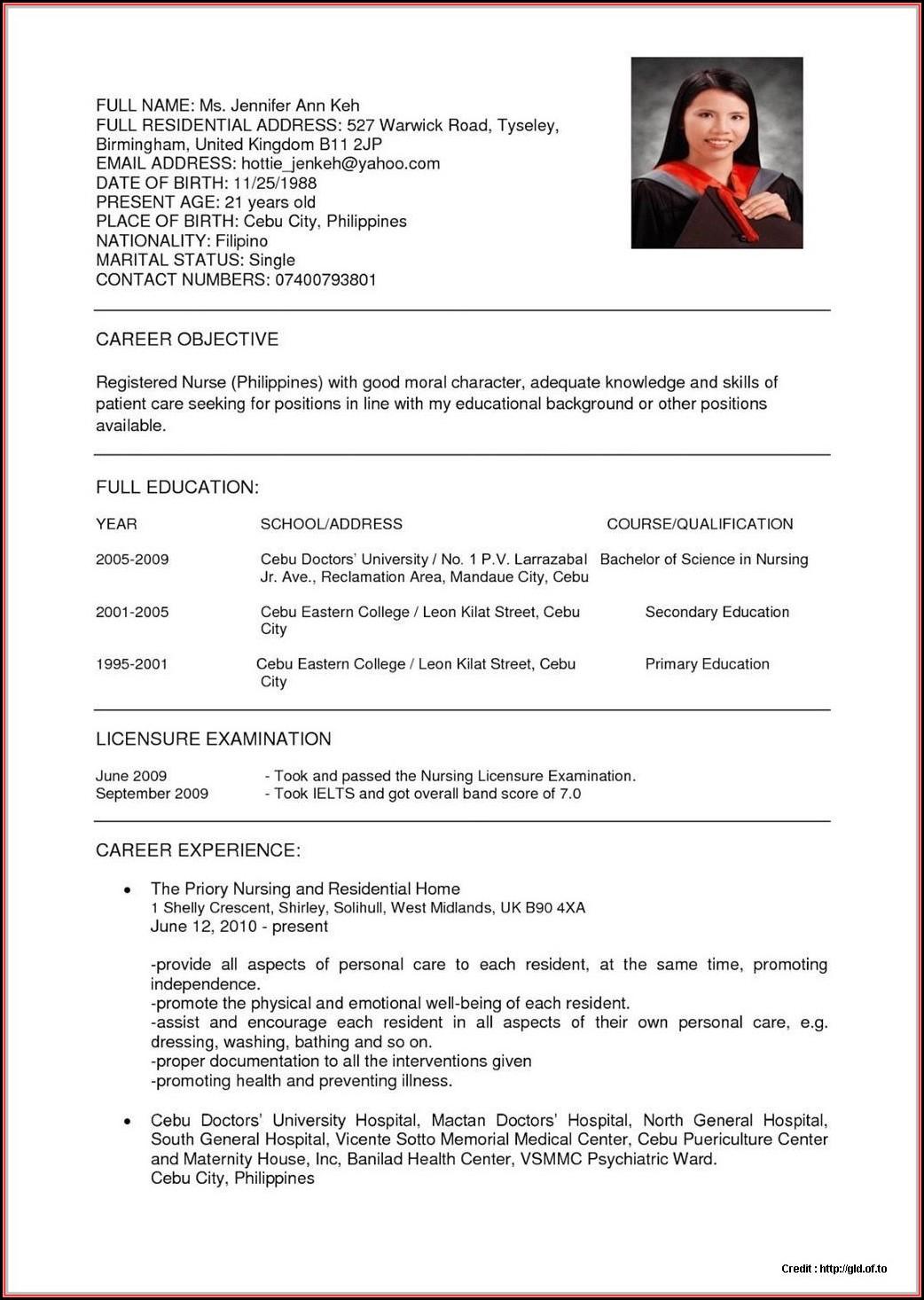 Sample Staff Nurse Resume Malaysia