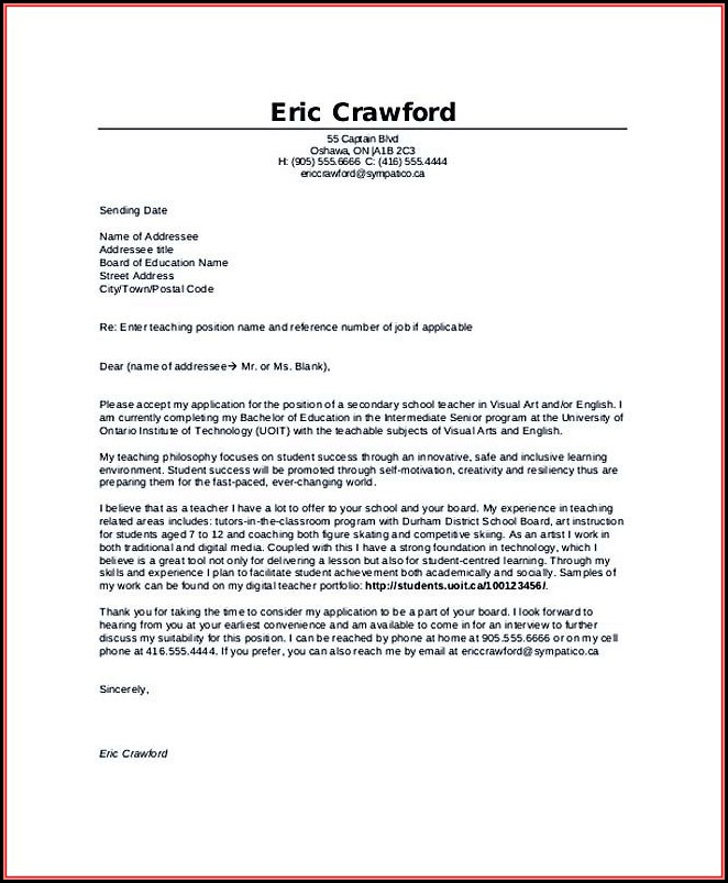 Sample Teacher Resume And Cover Letter