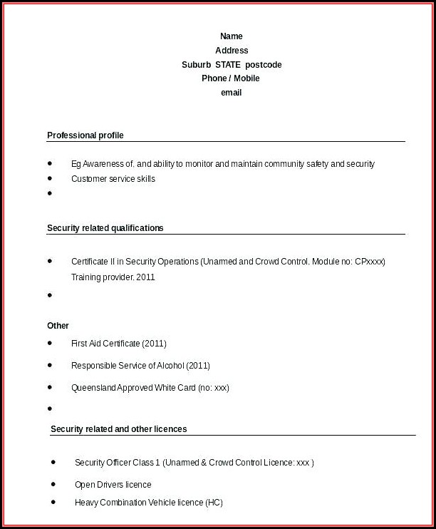 Sample Unarmed Security Guard Resume