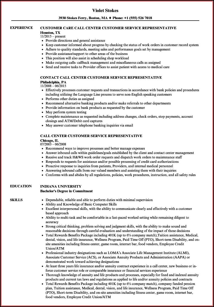 Samples Of Resumes For Customer Service Representative