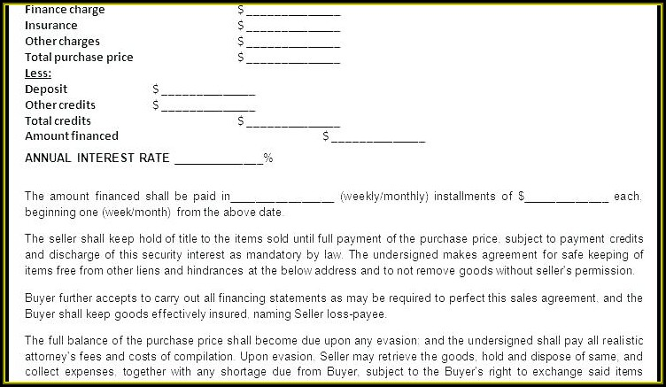Seller Financing Business Contract Template
