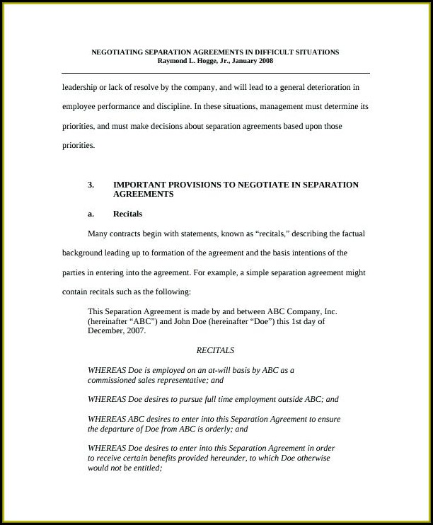 Simple Separation Agreement Template Ontario
