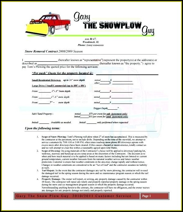 Snow Removal Bid Template Free