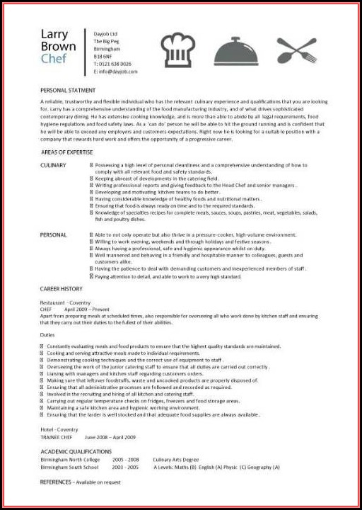 Sous Chef Resume Template Free