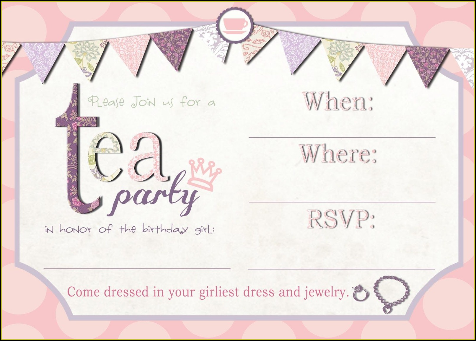 Tea Party Invitation Template Free Printable