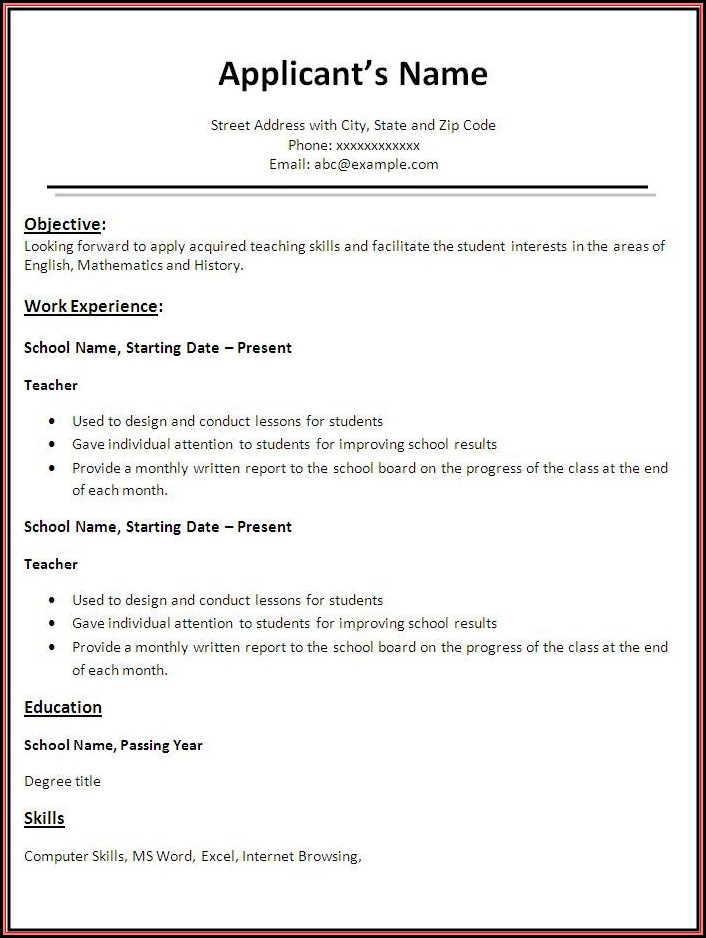 Teachers Resume Template Free