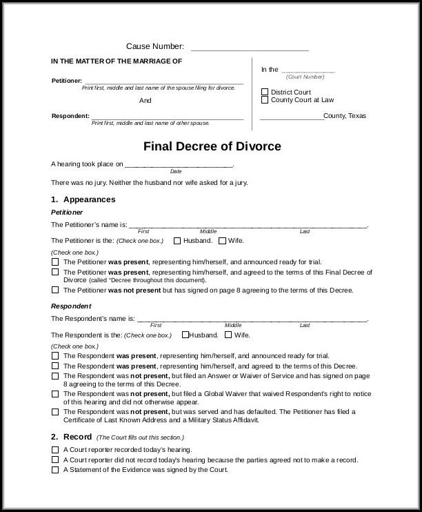 Texas Final Divorce Decree Example