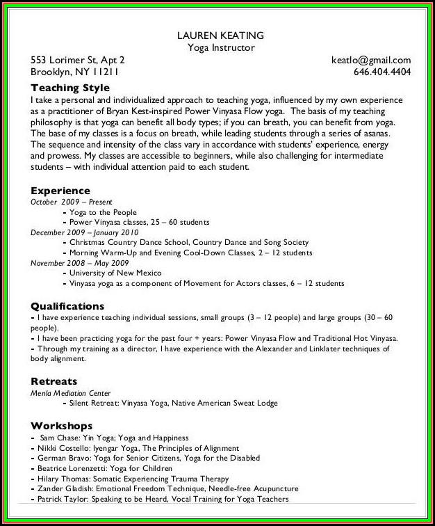 Yoga Teacher Resume Template Download