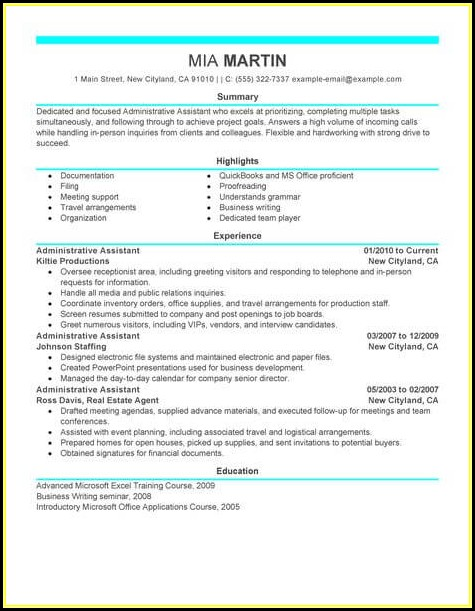 Administrative Assistant Resume Template Word