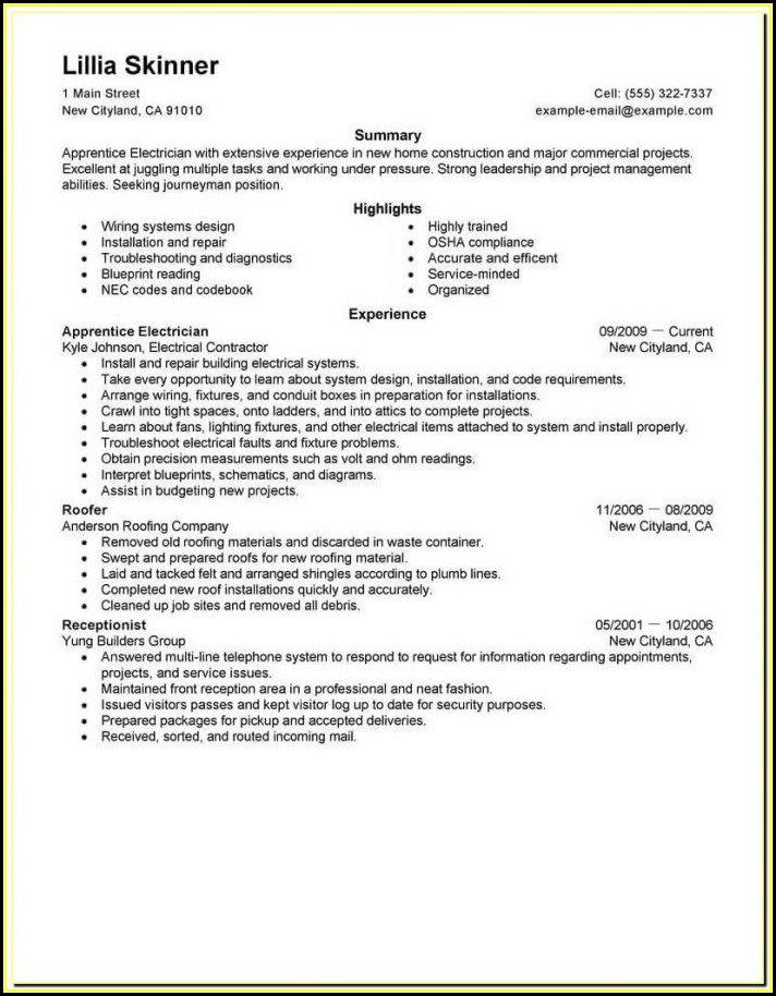 Aviation Electrician Resume Templates