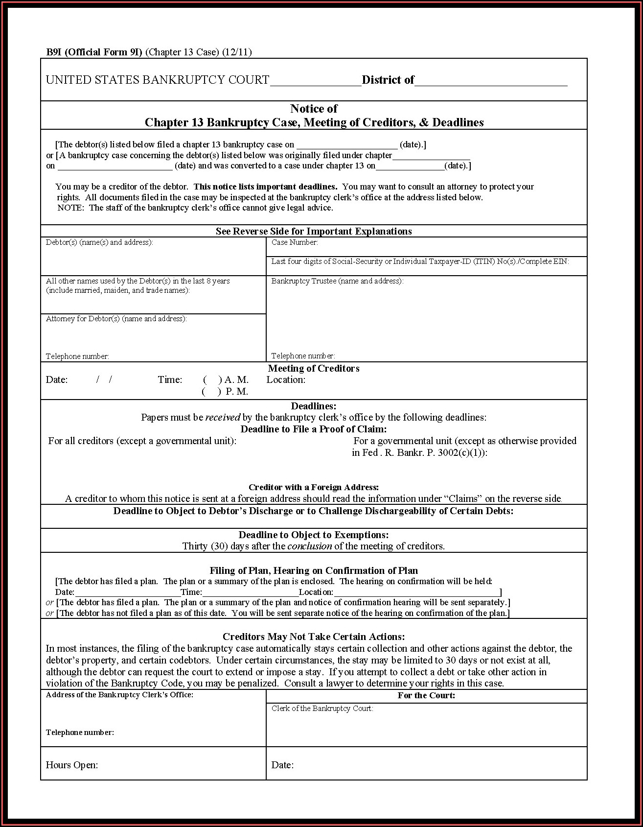 Bankruptcy Chapter 13 Forms Pdf