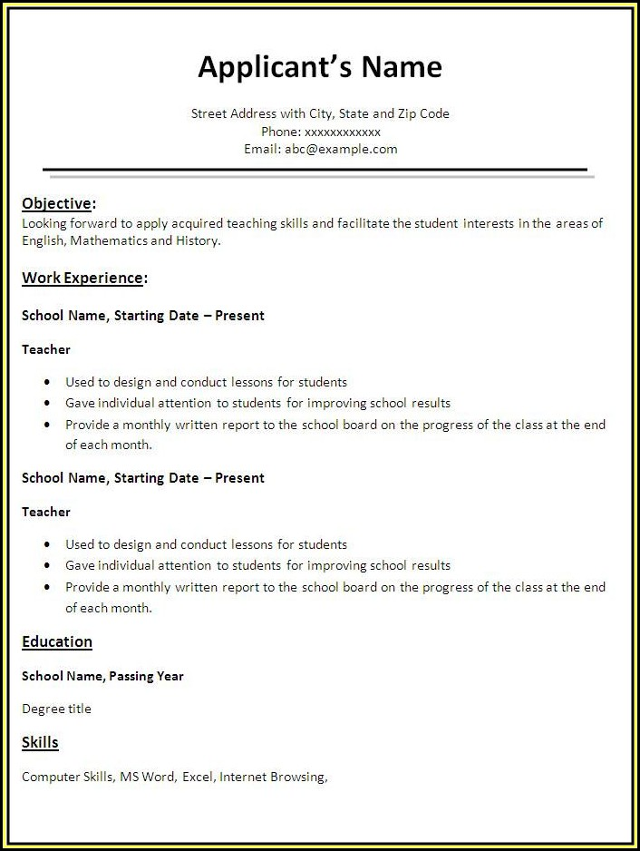 Best Free Resume Templates For Teachers