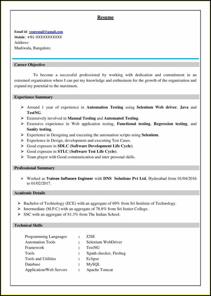 Best Resume For Software Testing Freshers