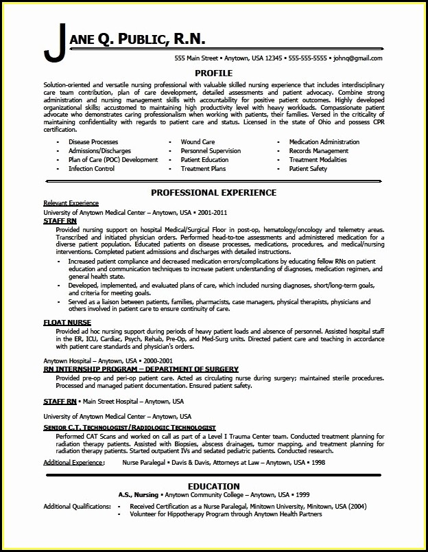 Best Resume Template For Rn