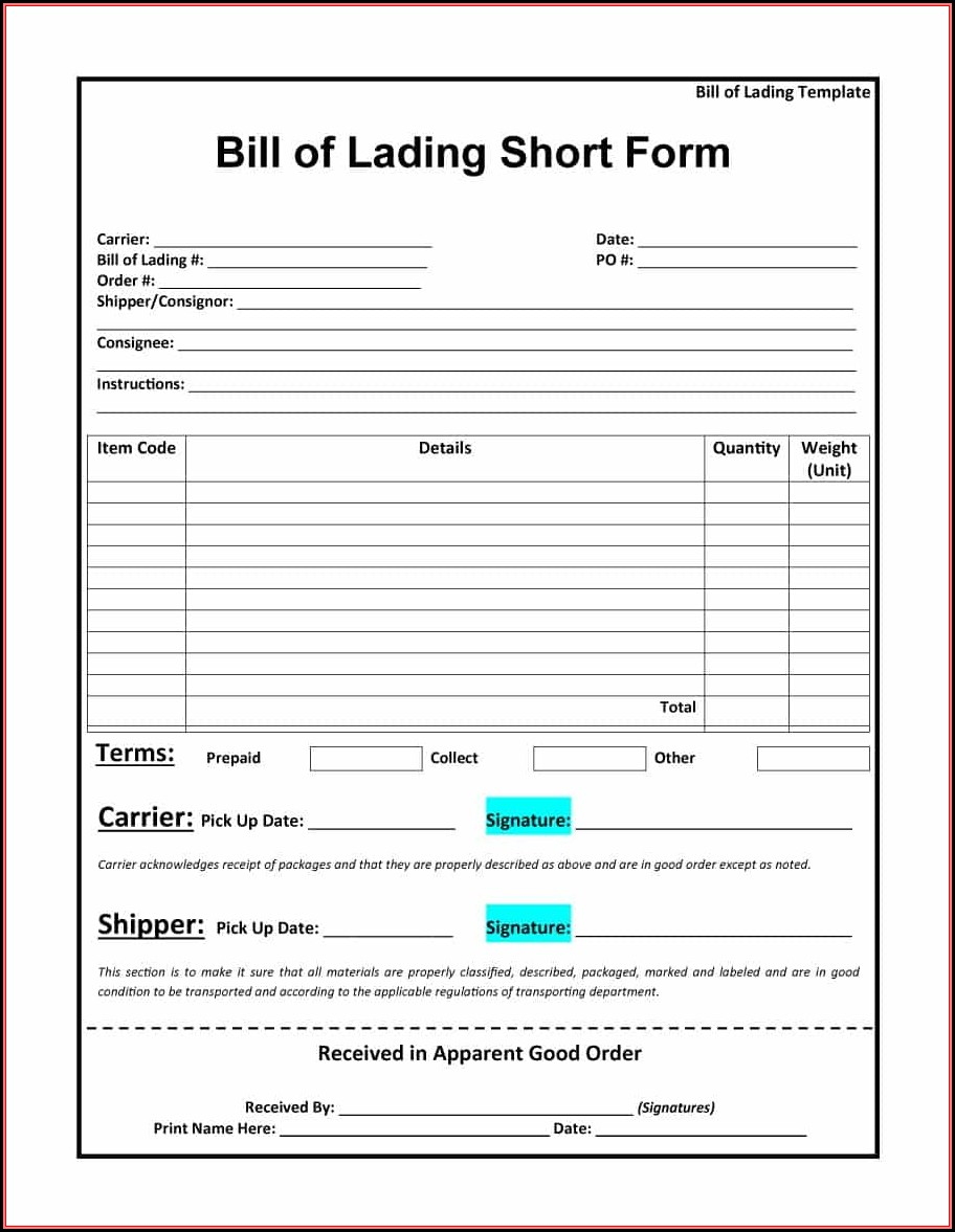 Bill Of Lading Short Form Template