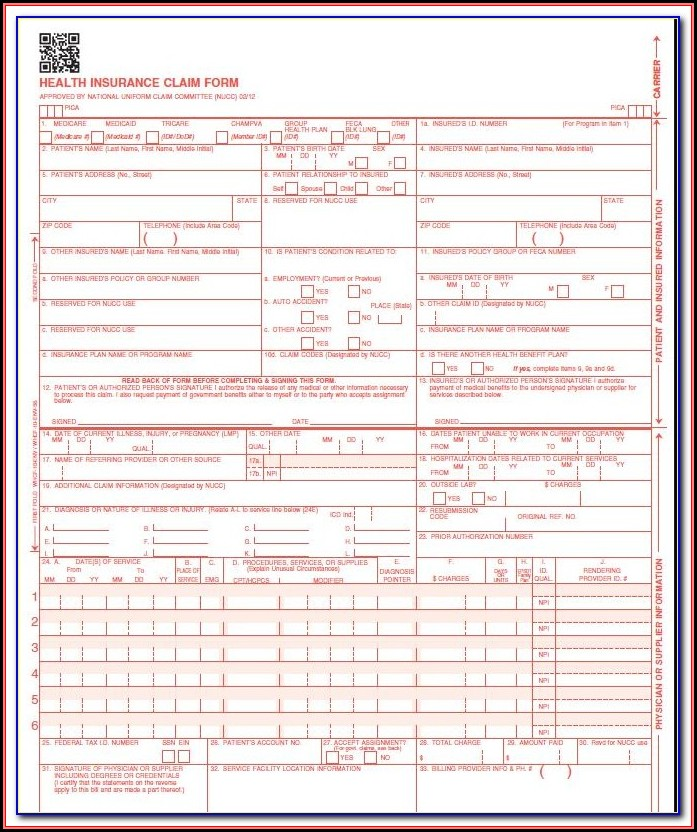 Blank Cms 1500 Form Printable