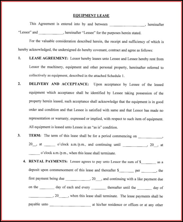 Blank Rental Agreement Forms Free